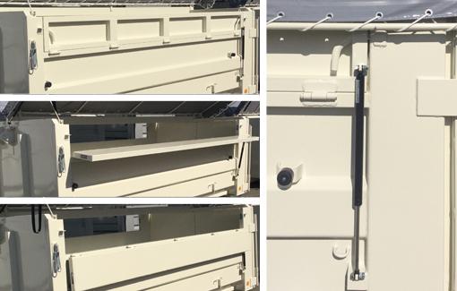 アオリ開閉時の安全性を高めるガスダンパーを採用