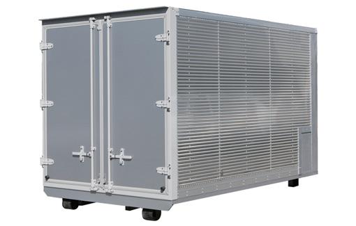 緊急備蓄品の移動倉庫として 保冷コンテナ/2tアルミバンコンテナ